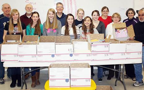 Union High School Key Club collect items for soldiers' care packages. In total they sent 34 boxes and one large tub to 16 different soldiers. All the soldiers were either children of staff, siblings of students or past graduates of Union High School.